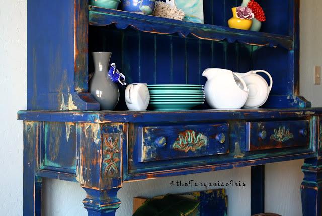 Vintage Hutch In Klein Blue Patina Green Somerset Gold