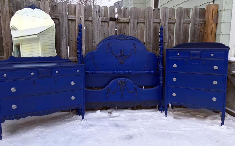 klein blue  pitch black glaze bedroom set  general