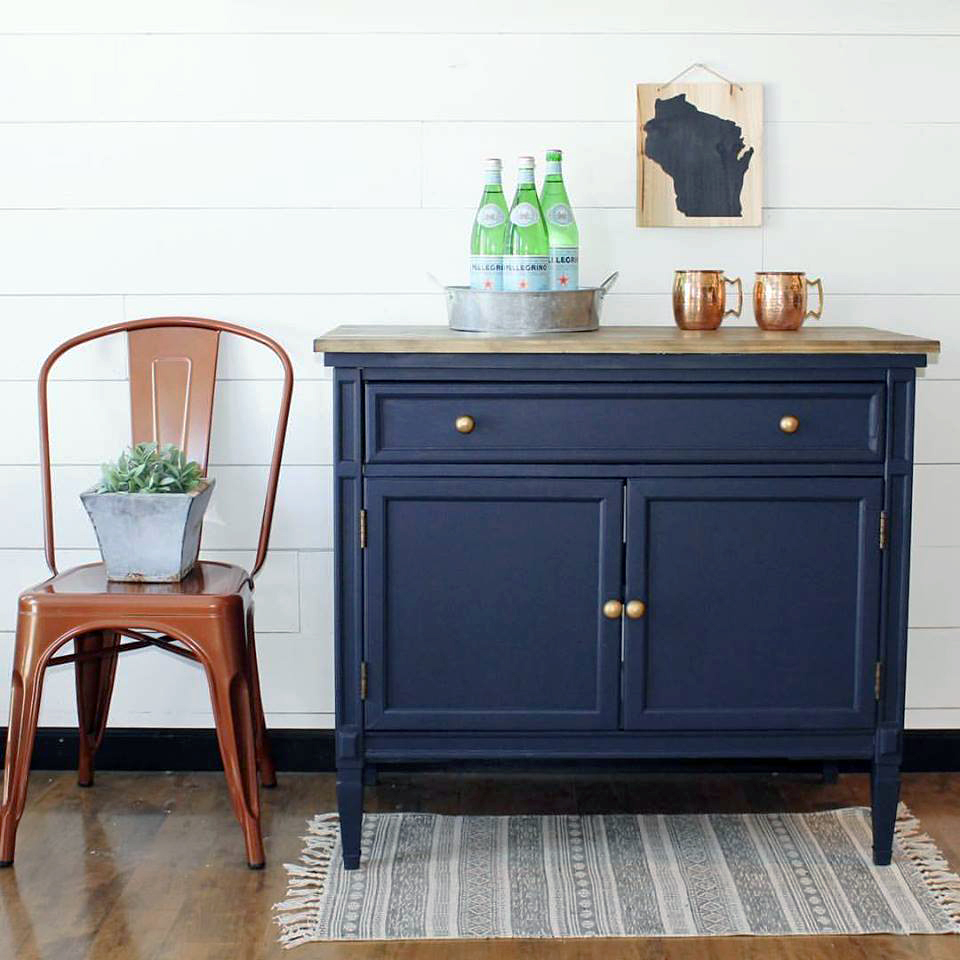 Dark Blue Chalk Paint Kitchen Cabinets: General Finishes Design Center
