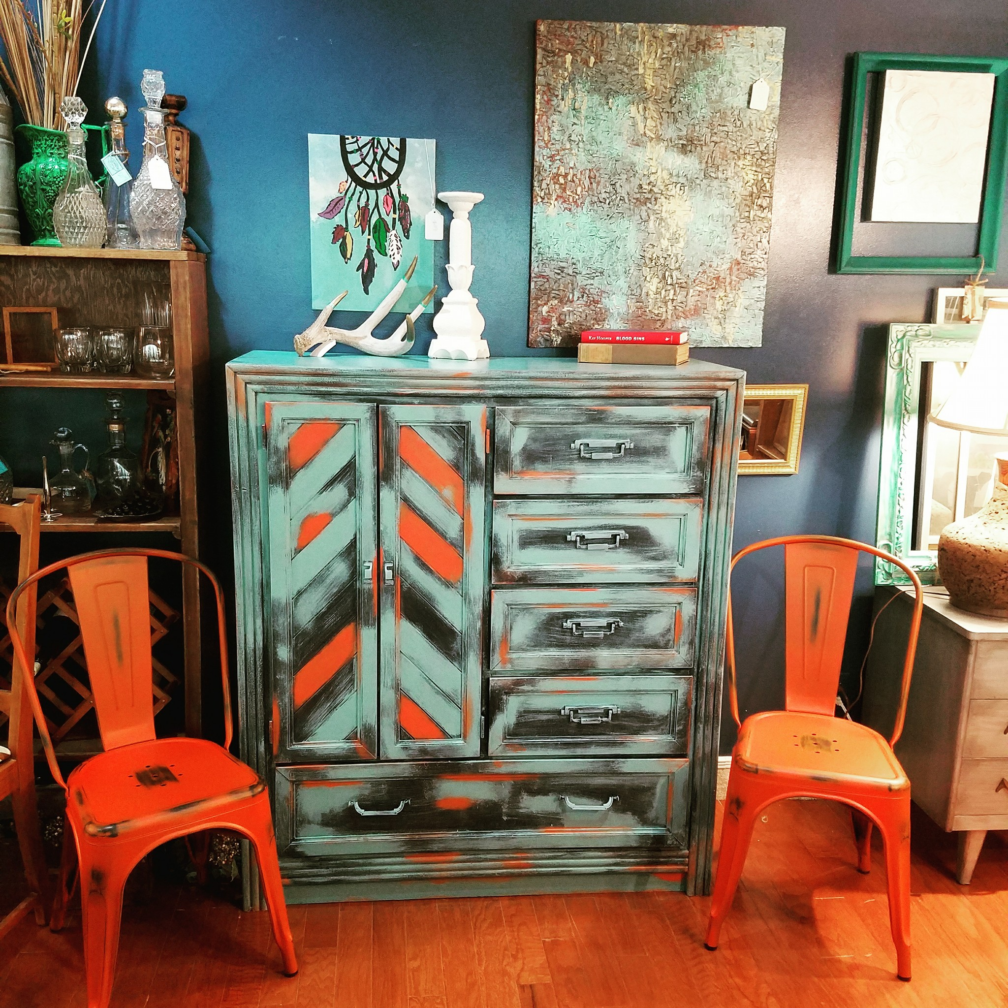 Boho Cabinet In Persimmon Milk Paint Midnight And Key West Blue Chalk Style
