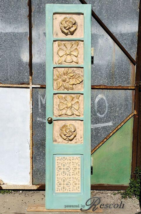 Repurposed Door in Millstone Patina Green u0026 Persian Blue Milk Paint | General Finishes Design Center & Repurposed Door in Millstone Patina Green u0026 Persian Blue Milk Paint ...