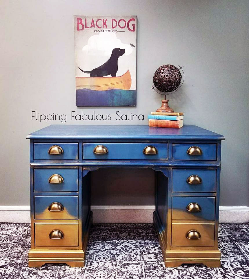 Blue and Gold Ombre Desk.
