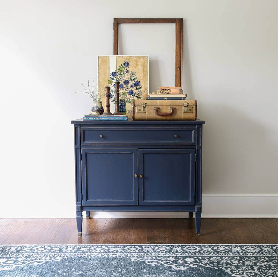 Mid Century Modern Cabinet In Coastal Blue Milk Paint