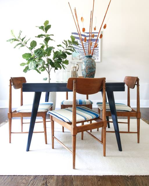 Mid Century Modern Dining Set In Coastal Blue General