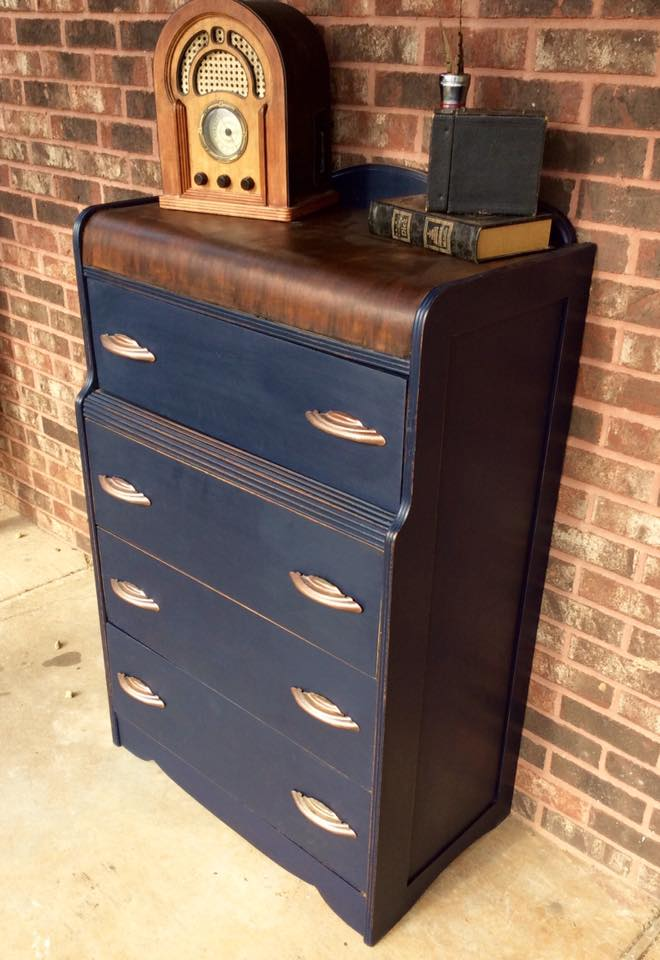 Antique Waterfall Dresser In Coastal Blue Amp Java General