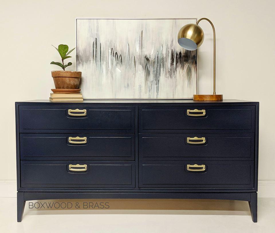 Modern Style Dresser: Mid-Century Modern Lane 6-Drawer Dresser In Coastal Blue