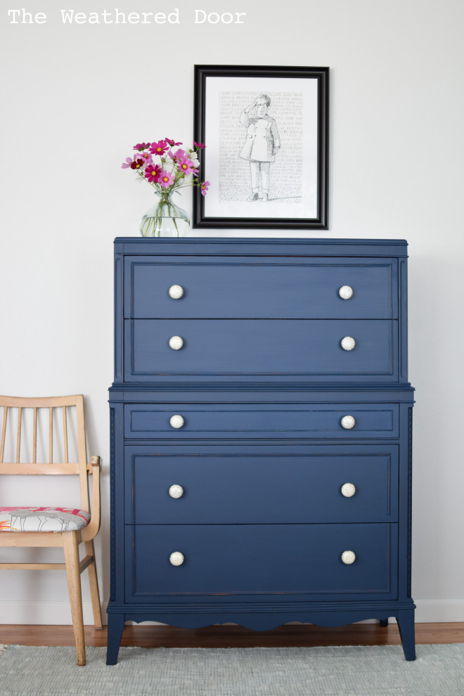 Stacked Hepplewhite Dresser In A Custom Navy General