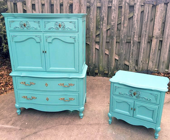 Key west blue french provincial set general finishes for Key west style bedroom furniture