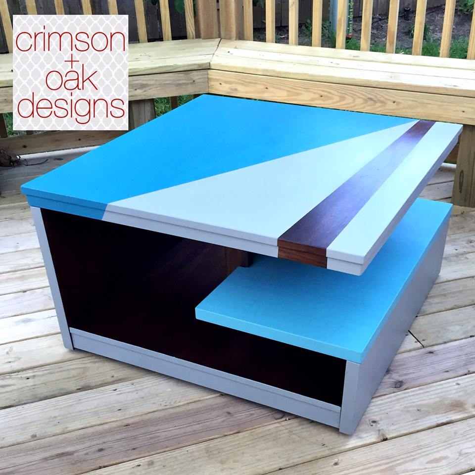 Modern Coffee Table Design In GF Blue Milk Paints And Java Gel Stain |  General Finishes Design Center