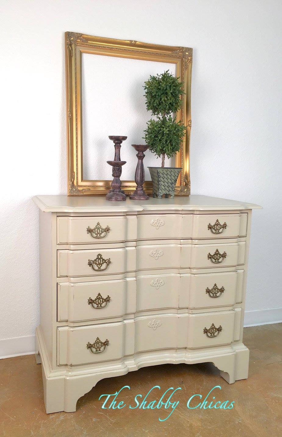 Brown And White Chalk Paint Dresser