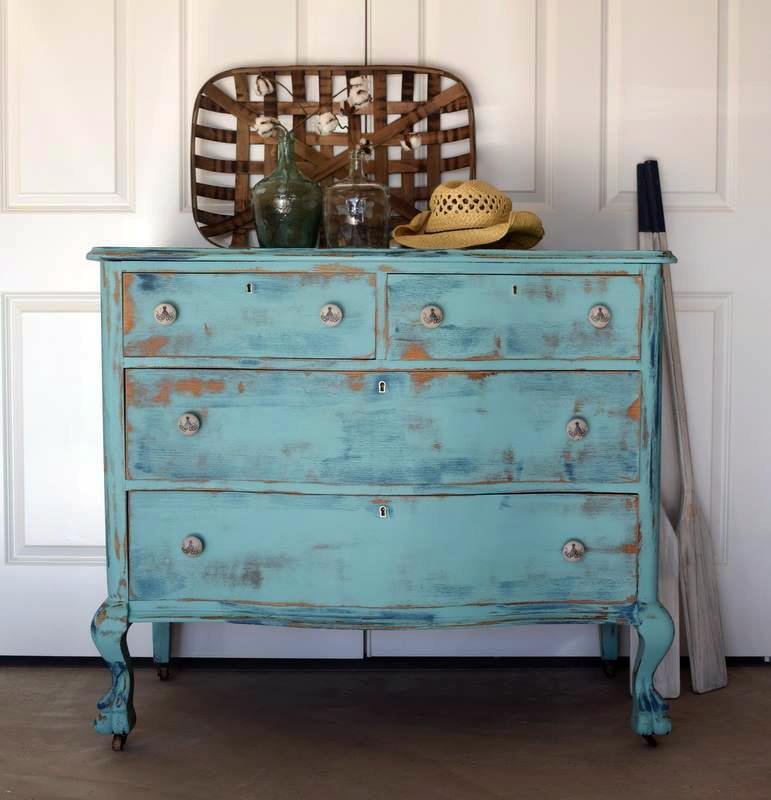 Key west blue distressed dresser general finishes design for Key west style bedroom furniture