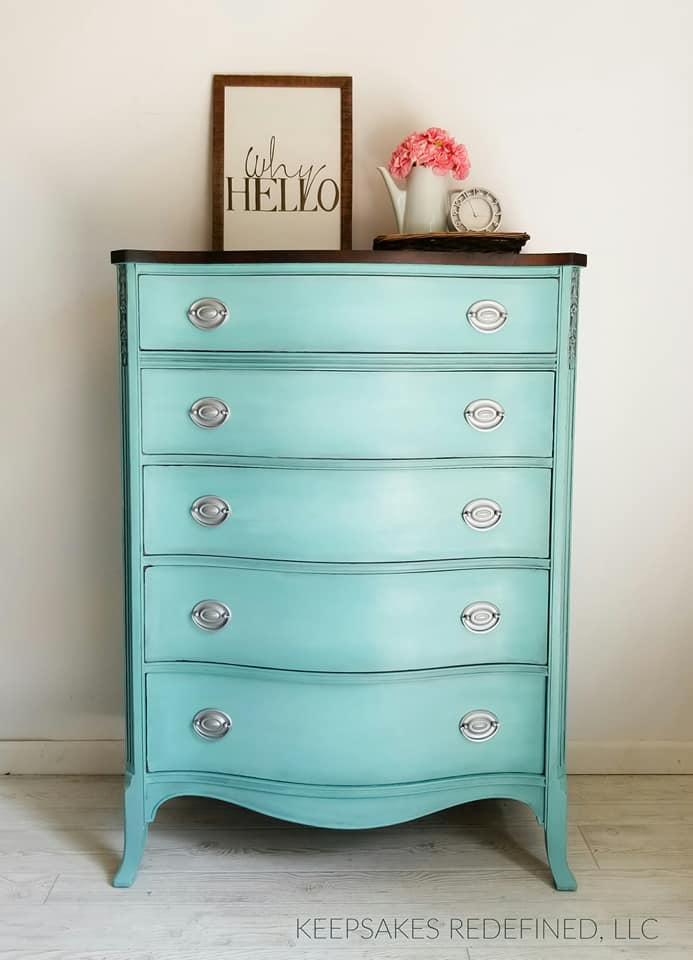 Custom Mixed Aqua Chalk Style Paint Dresser   General ...