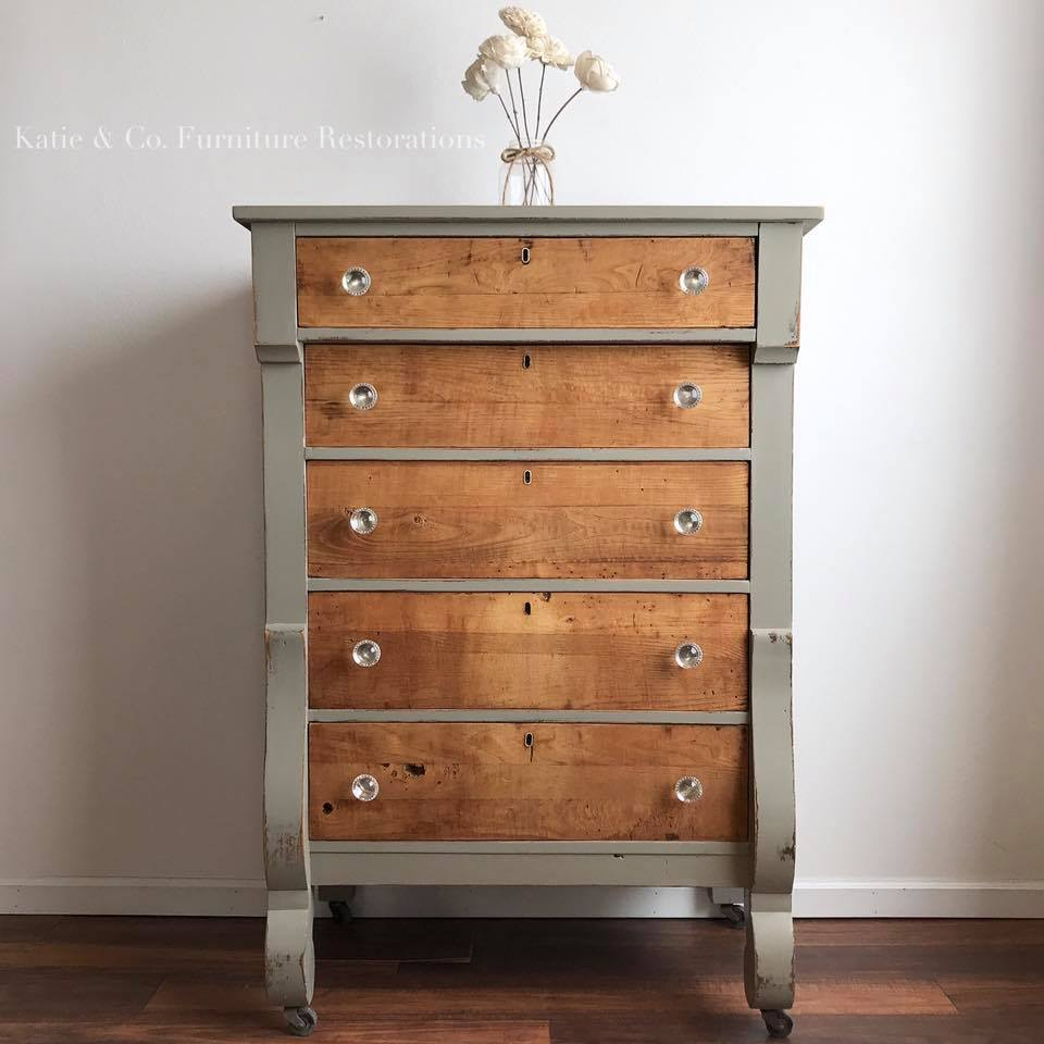 Dresser restoration with empire gray chalk style paint general finishes design center - Refinishing furniture ideas painting ...