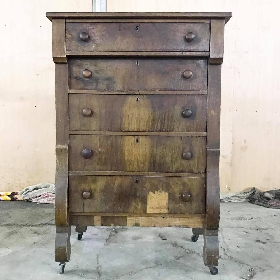 Dresser Restoration With Empire Gray Chalk Style Paint