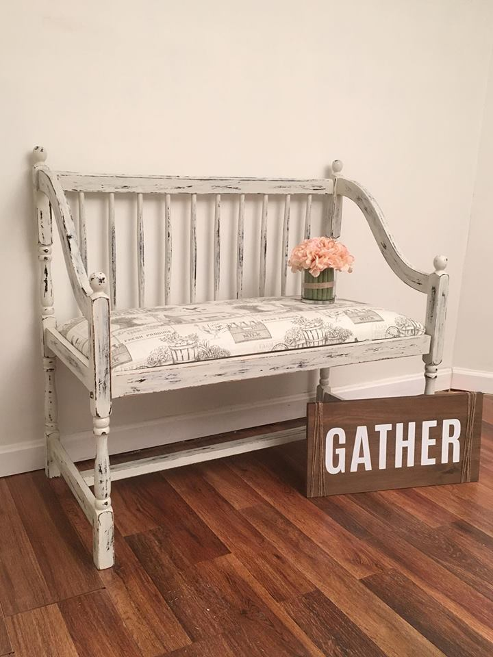 Cute Bench In Chapin Gray Chalk Style Paint General