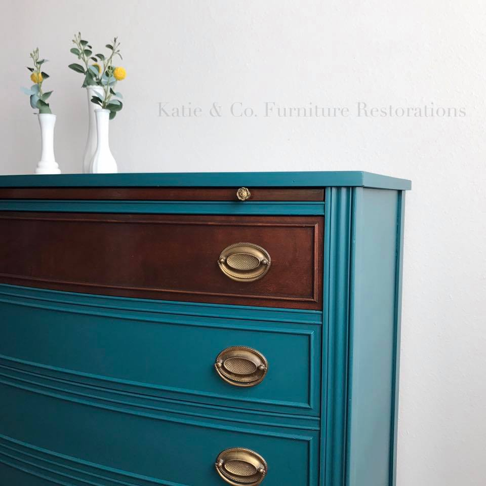 White Dresser With Black Top