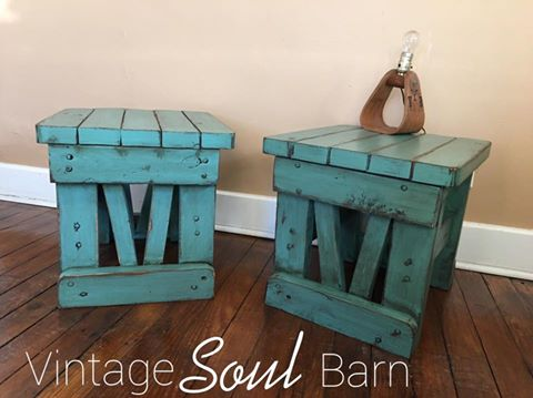 Solid End Tables In Custom Color Of Persian Amp Patina Green