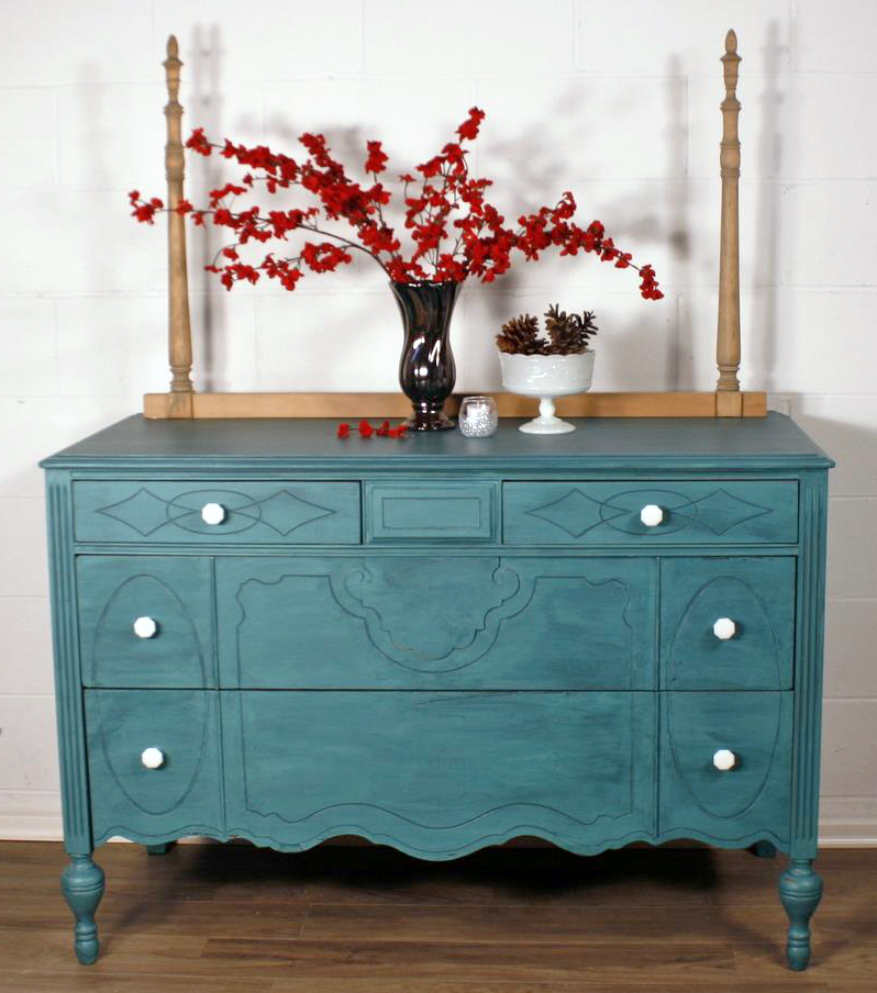 Custom Teal Color Washed Dresser