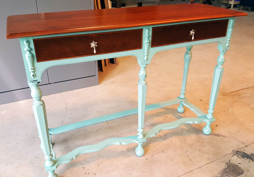 Light brown dye stain and key west blue accent table for Key west style lighting