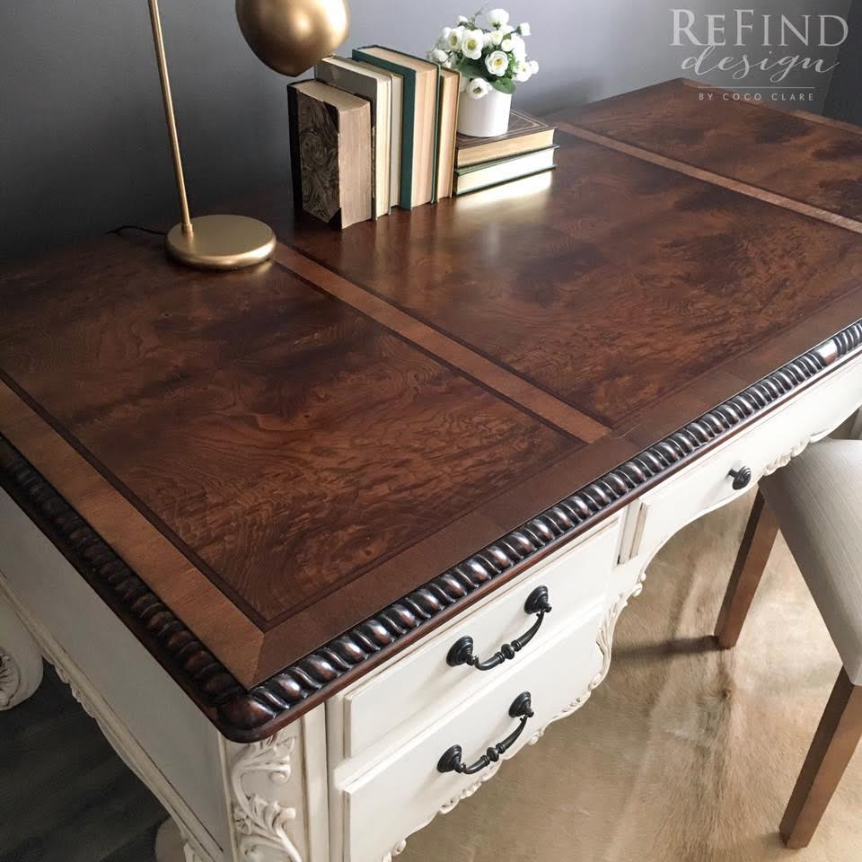 Water based dye stain general finishes medium brown and dark brown dye stain burled veneer top desk nvjuhfo Image collections