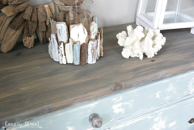 Gray Gel Stained Dresser Top