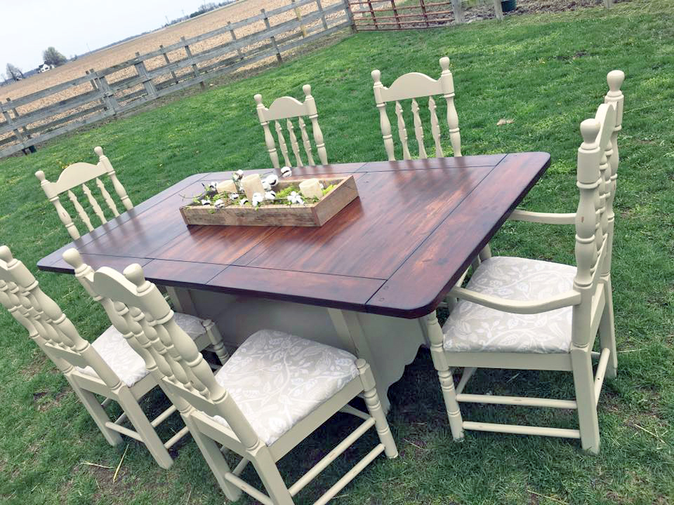 Millstone Milk Paint and Java Gel Stain Dining Set  : scd gel stain erin 20170411 vintage soul barn dining set millstone milk paint java gel stain general finishes from designs.generalfinishes.com size 960 x 720 jpeg 499kB