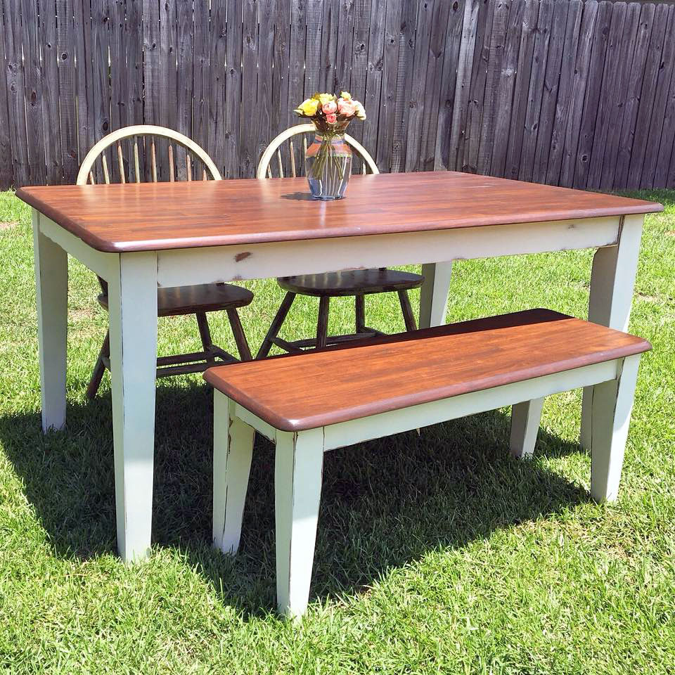 Antique Walnut Gel Stained Farmhouse Table