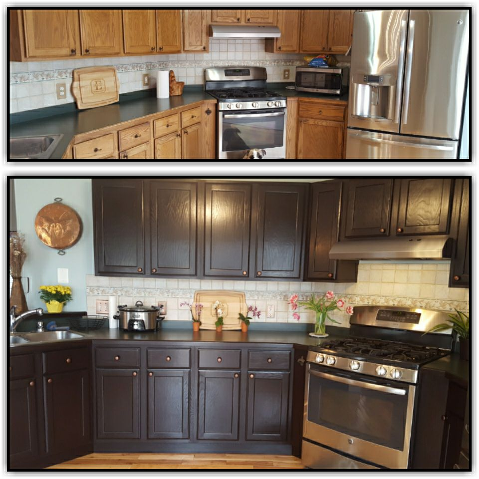 Stained Kitchen Cabinets: Cherry Gel Stain Kitchen Cabinets