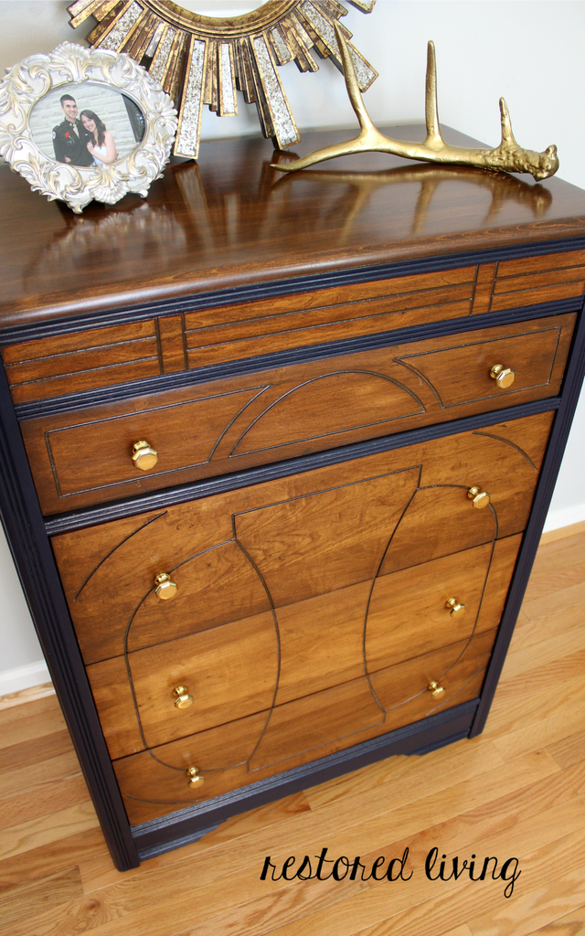 Art Deco Dresser In Antique Walnut Amp Coastal Blue