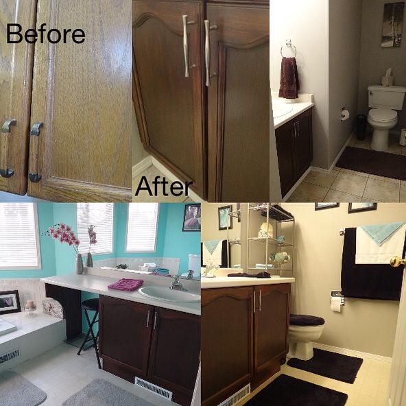 Bathroom Cabinet Transformation In Antique Walnut Gel