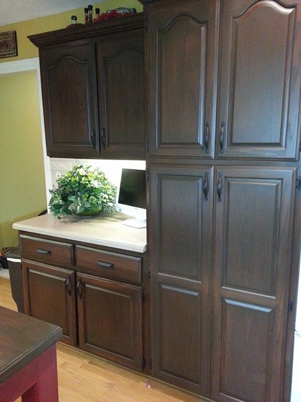 Antique walnut cabinet transformation general finishes for Finished kitchen cabinets
