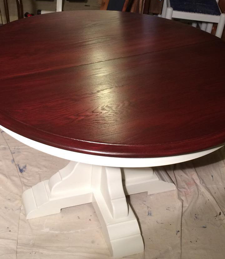Table In Antique White Mp And Georgian Cherry Gel Stain