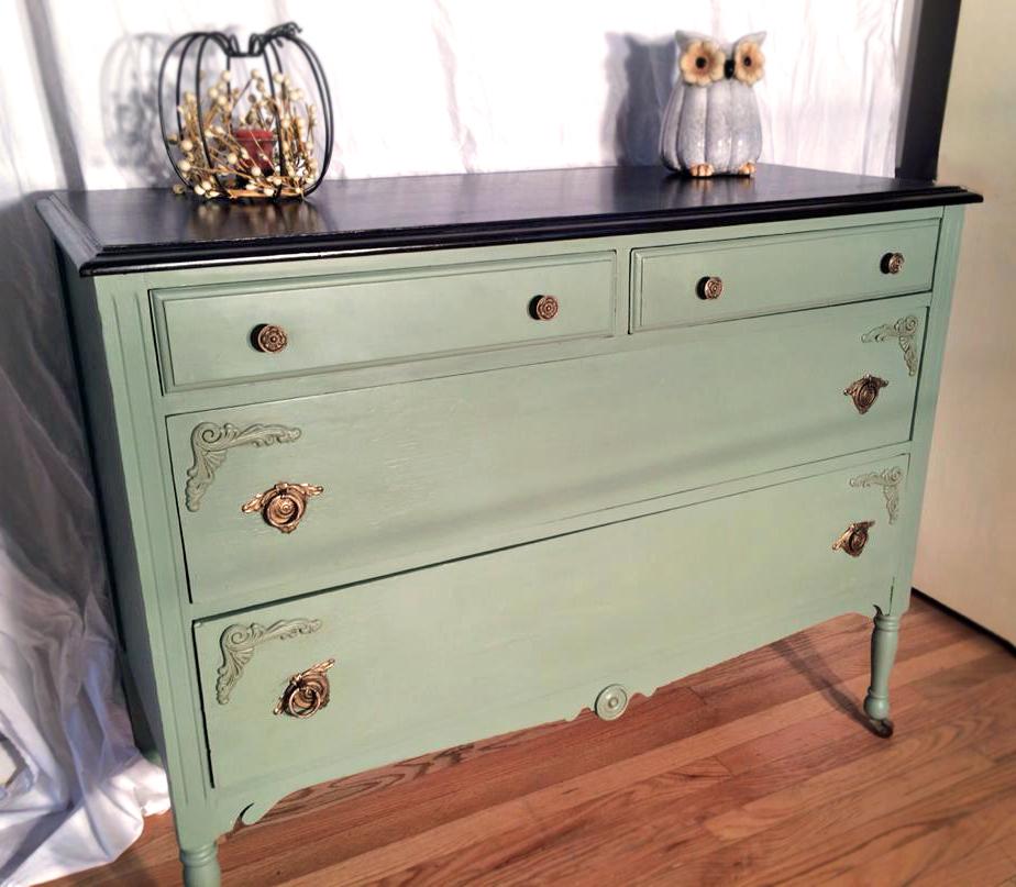 Beautiful Basil Green Amp Java Dresser General Finishes