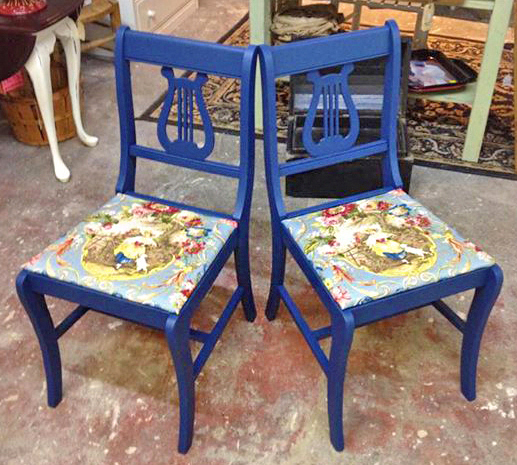 Lyre Back Chairs In Coastal Blue Milk Paint | General Finishes Design Center