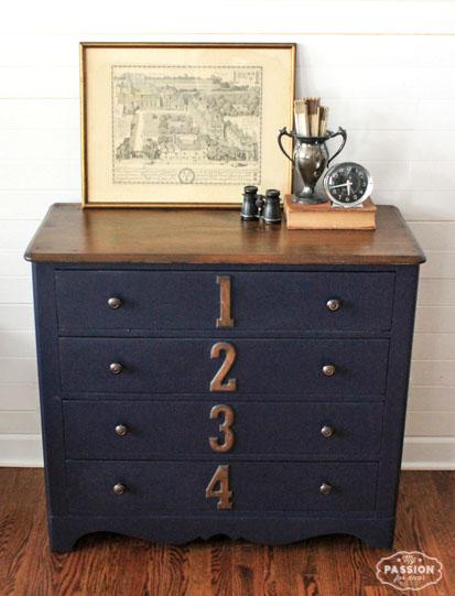 Numbered Drawer Dresser In Coastal Blue Milk Paint