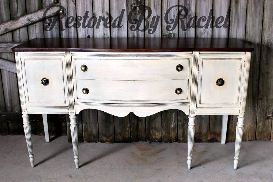 Reversed Glazed Antique White Buffet