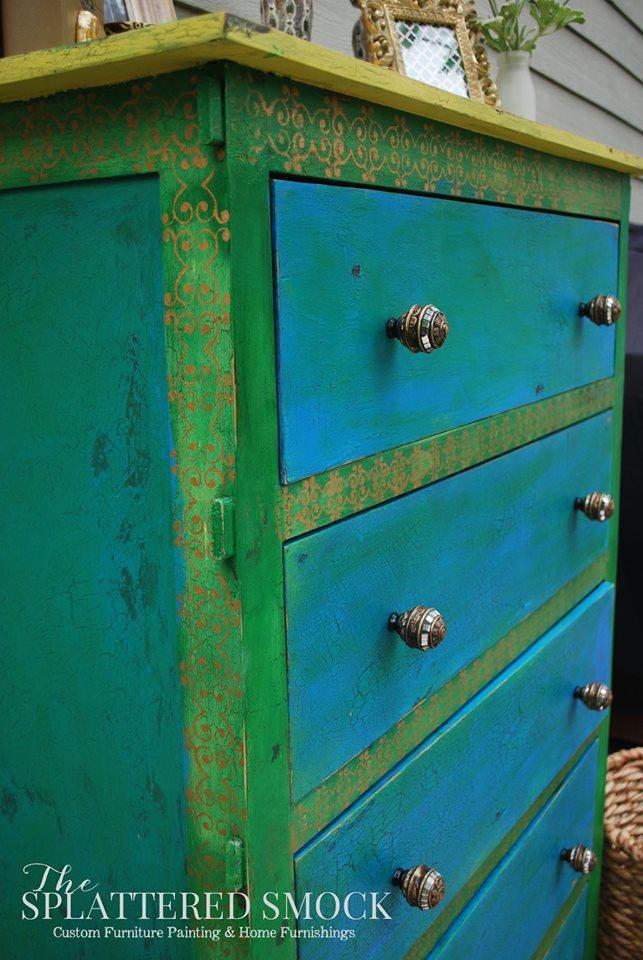 Emerald Green And Corinth Blue Boho Dresser General