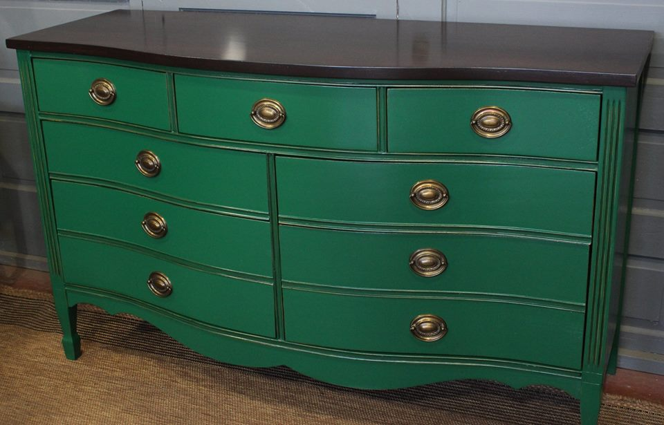 dresser in a custom mixed green milk paint general finishes design center. Black Bedroom Furniture Sets. Home Design Ideas