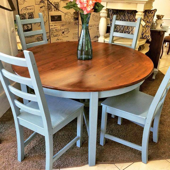 Table And Chair Set In Halcyon Blue Milk Paint And Java Gel Stain | General  Finishes Design Center