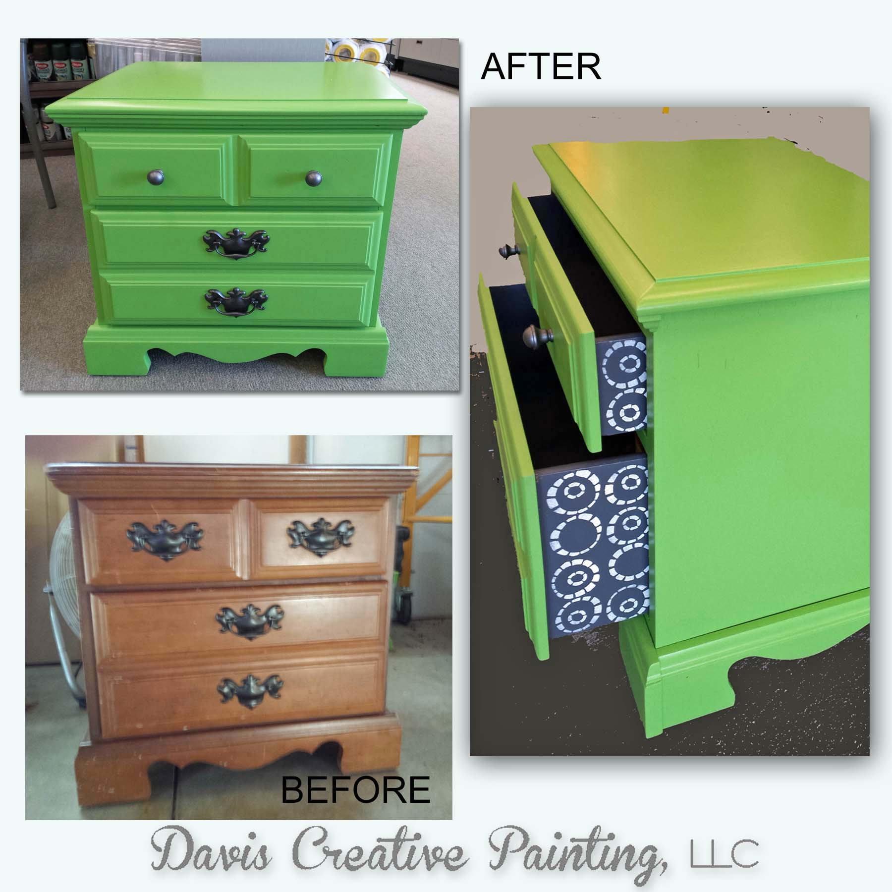 Nightstand In Lime Green Milk Paint