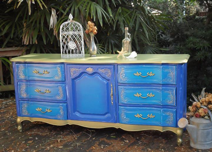 Completely new Whimsical Purple Blue and Gold Dresser | General Finishes Design  YJ09