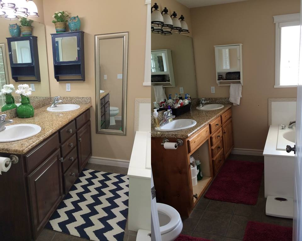Bathroom overhaul with antique walnut gel stain general for Bathroom finishes