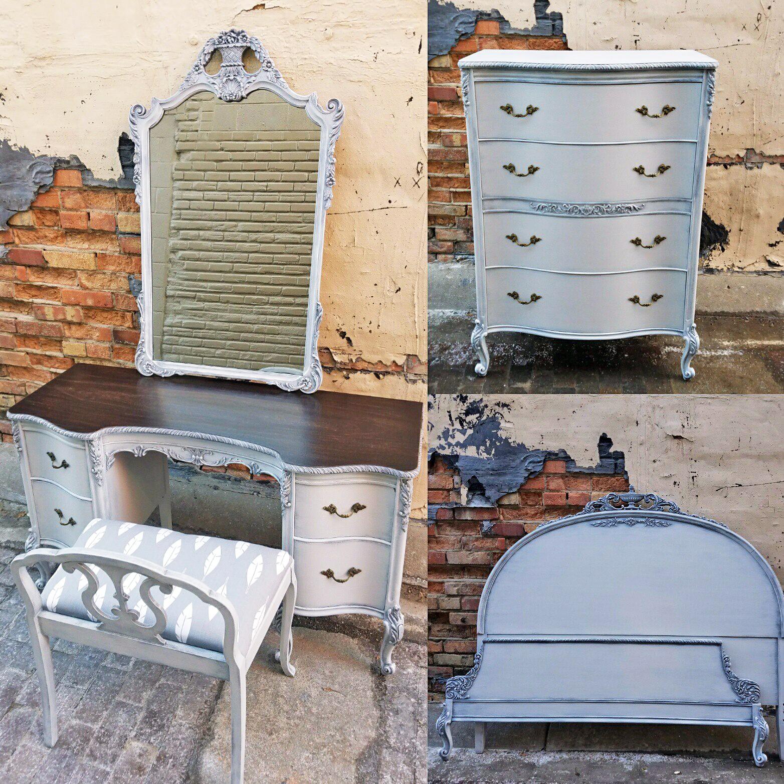 Gray antique bedroom set general finishes design center for Antique grey bedroom furniture