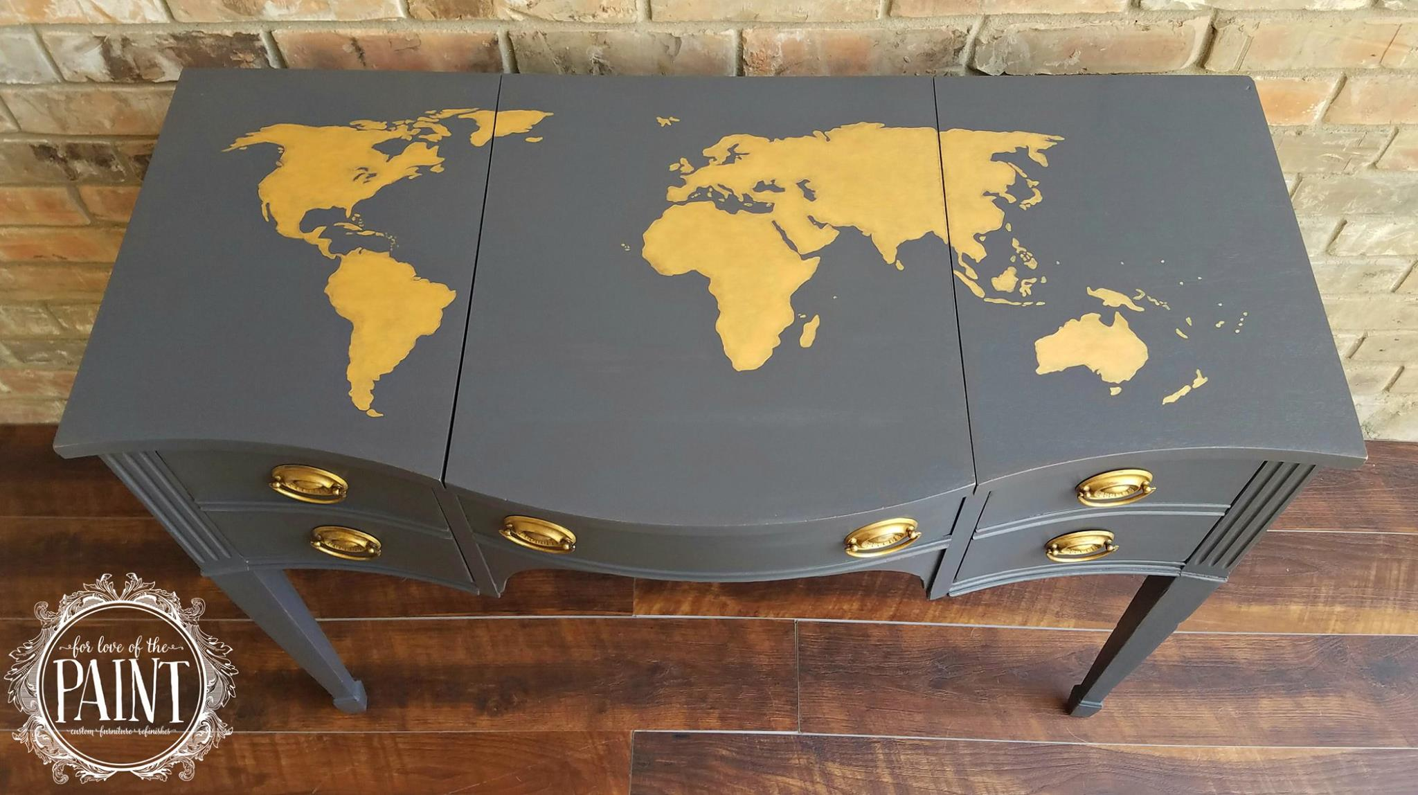 Queenstown gray desk with gold world map general finishes design queenstown gray desk with gold world map general finishes design center gumiabroncs Images