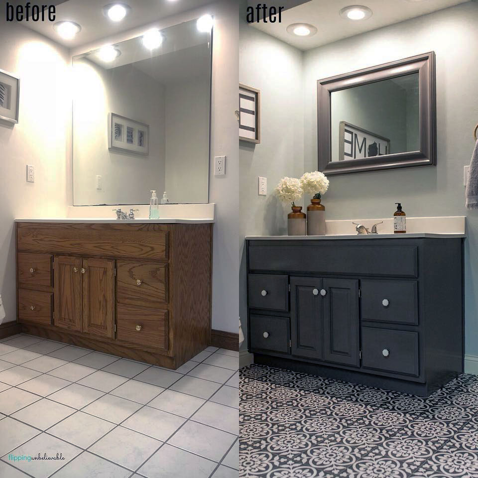 Bathroom Vanity Colors And Finishes: Driftwood Bathroom Vanity Transformation