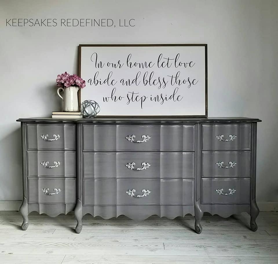 Custom Gray Glazed French Provincial Dresser