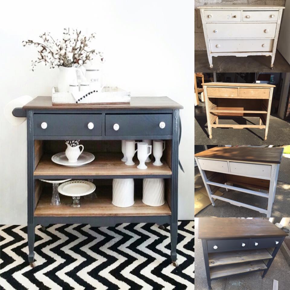 Repurposed Antique Dresser As A Kitchen Island With A: Dresser Repurposed To A Kitchen Island