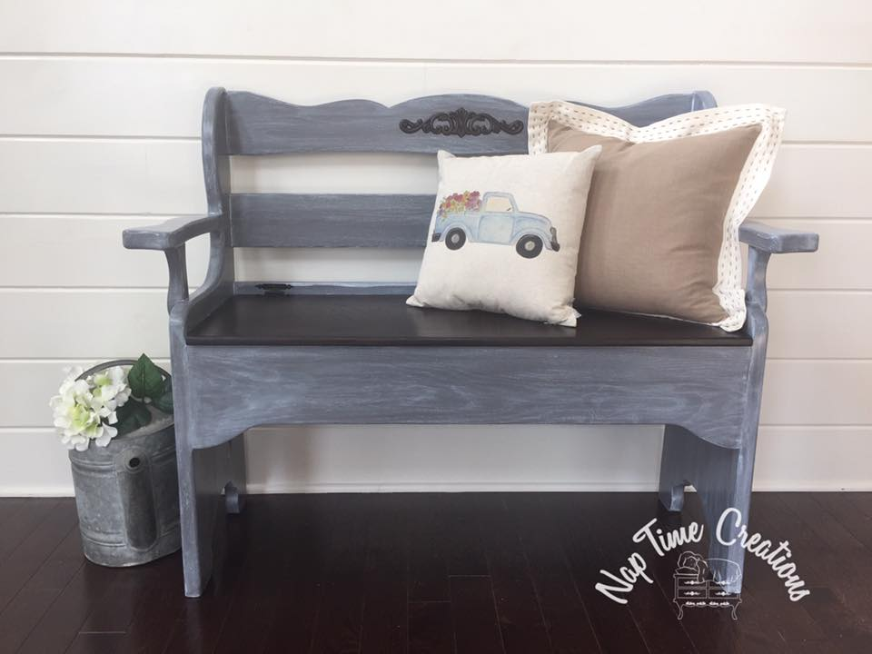 Bench In Driftwood And Winter White Wash