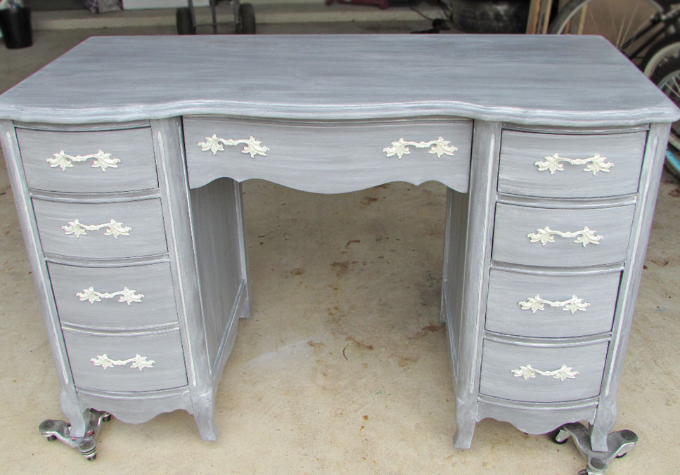 Desk In Driftwood Milk Paint And Winter White Glaze Effects