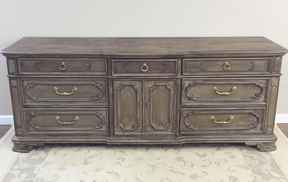 Buffet In Seagull Gray Milk Paint And Van Dyke Brown Glaze